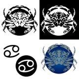Ícones do cancro do zodíaco Fotografia de Stock