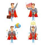 Ícones do caráter dos homens de negócios do super-herói ajustados Fotografia de Stock