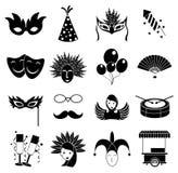 Ícones do carnaval ajustados Fotografia de Stock Royalty Free