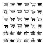 Ícones do carrinho de compras Fotografia de Stock Royalty Free