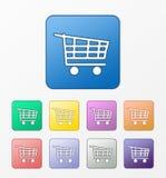 Ícones do carrinho de compras ajustados Fotografia de Stock