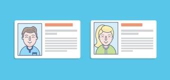 Ícones do cartão da identificação do homem e da mulher Fotos de Stock