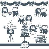 Grupo de símbolos do vetor dos ícones 7 dos gatos: wedding Fotos de Stock