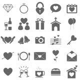 Ícones do casamento no fundo branco Imagem de Stock