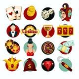 Ícones do casino ajustados ilustração do vetor