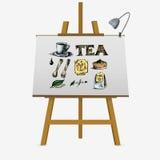 Ícones do chá ajustados no fundo branco ilustração do vetor