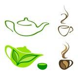 Ícones do chá e do café Fotografia de Stock Royalty Free