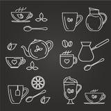 Ícones do chá e do coffe Fotografia de Stock