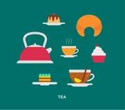 Ícones do chá e dos doces Fotos de Stock