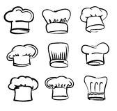 Ícones do chapéu do cozinheiro chefe Foto de Stock Royalty Free