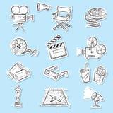 Ícones do cinema ajustados Fotografia de Stock Royalty Free