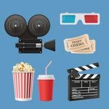 Ícones do cinema 3d A fita do filme dos clapperboards da câmara de vídeo do filme e os vidros estereofônicos vector os objetos re ilustração stock