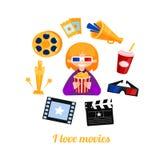 Ícones do cinema da menina do frequentador do filme ajustados Imagem de Stock Royalty Free
