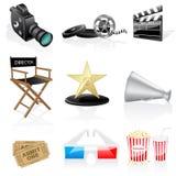 Ícones do cinema do vetor Imagens de Stock Royalty Free