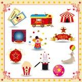 Ícones do circo de Funy Fotografia de Stock Royalty Free