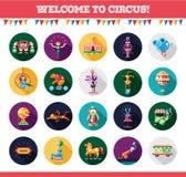 Ícones do circo do projeto e grupo de elementos lisos do infographics Fotos de Stock Royalty Free