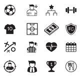 Ícones do clube do futebol & do futebol ajustados Imagem de Stock Royalty Free