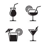 Ícones do cocktail ilustração royalty free