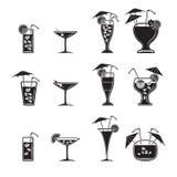 Ícones do cocktail ajustados Imagem de Stock