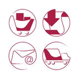 Ícones do comércio eletrônico da compra ajustados ilustração do vetor
