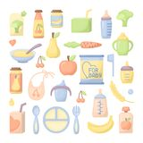 Ícones do comida para bebê ajustados ilustração do vetor