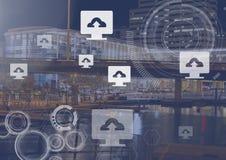 Ícones do computador da transferência de arquivo pela rede sobre a cidade Foto de Stock Royalty Free