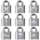 Ícones do computador de secretária em teclas de fechamento Imagem de Stock