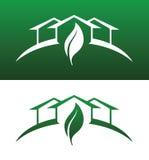 Ícones do conceito da casa verde contínuos e invertidos ilustração royalty free