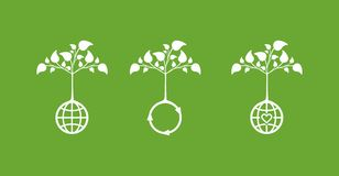 Ícones do conceito da ecologia imagem de stock