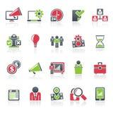 Ícones do conceito da gestão empresarial Foto de Stock Royalty Free