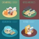 Ícones do conceito da loja de animais de estimação ajustados ilustração royalty free