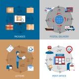 Ícones do conceito do correio ajustados Fotografia de Stock