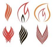 Ícones do conceito do fogo Fotografia de Stock Royalty Free