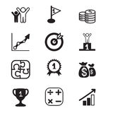 Ícones do conceito do objetivo de negócios ajustados Ilustração Royalty Free
