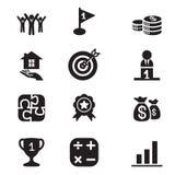 Ícones do conceito do objetivo de negócios da silhueta ajustados Ilustração Stock