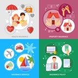 Ícones do conceito do seguro ajustados ilustração stock