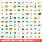 100 ícones do conceito dos bens imobiliários ajustaram-se, estilo dos desenhos animados Imagem de Stock