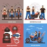 Ícones do conceito dos motociclistas ajustados Fotos de Stock Royalty Free