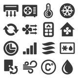 Ícones do condicionador de ar ajustados no fundo branco Vetor Imagens de Stock Royalty Free