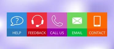 Ícones do contato no estilo liso Imagens de Stock Royalty Free