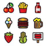 Ícones do contur do alimento Foto de Stock