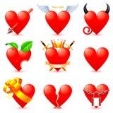 Ícones do coração. ilustração stock