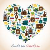 Ícones do coração do vinho Imagens de Stock