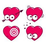 Ícones do coração dos desenhos animados Fotografia de Stock