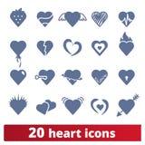 Ícones do coração e coleção do vetor dos símbolos do amor ilustração do vetor