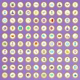100 ícones do corporaçõ ajustados no estilo dos desenhos animados ilustração do vetor