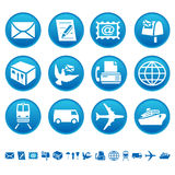 Ícones do correio & do transporte Foto de Stock
