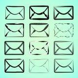 Ícones do correio em estilos diferentes ilustração stock