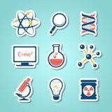 Ícones do corte do papel da química Imagens de Stock