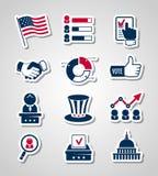Ícones do corte do papel da votação e das eleições ilustração royalty free